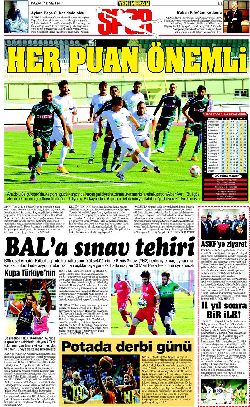 12 Mart 2017 Yeni Meram Gazetesi