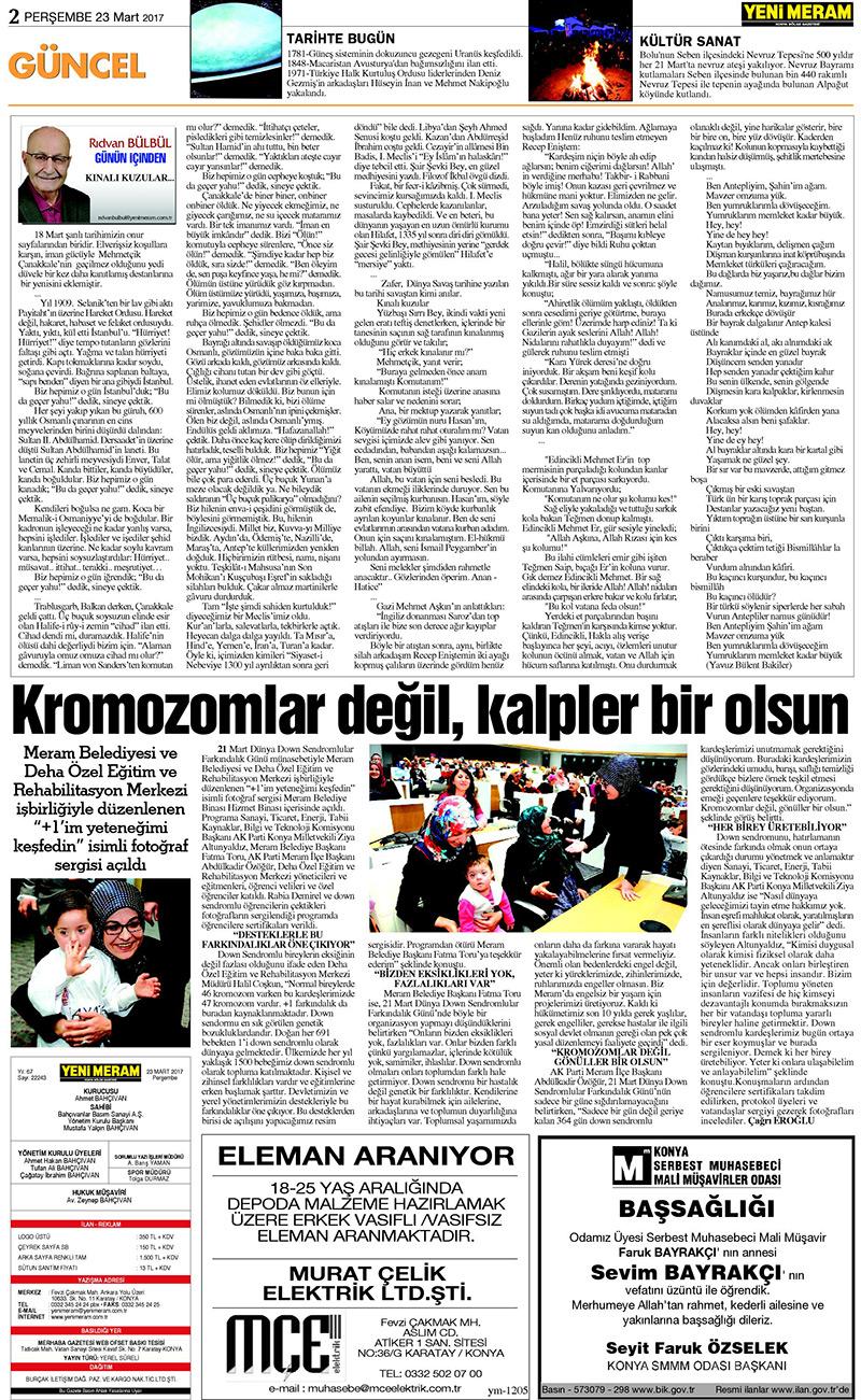 23 Mart 2017 Yeni Meram Gazetesi