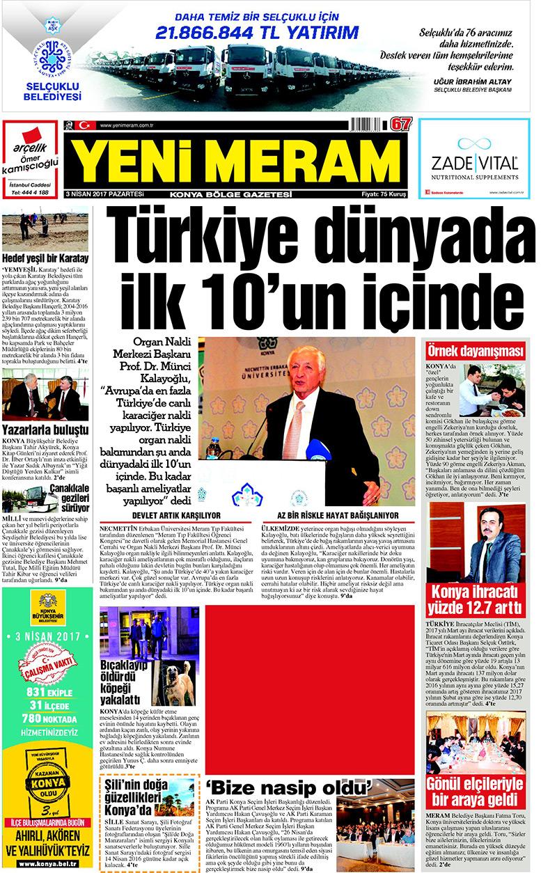 3 Nisan 2017 Yeni Meram Gazetesi