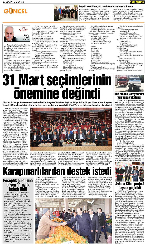 15 Mart 2019 Yeni Meram Gazetesi