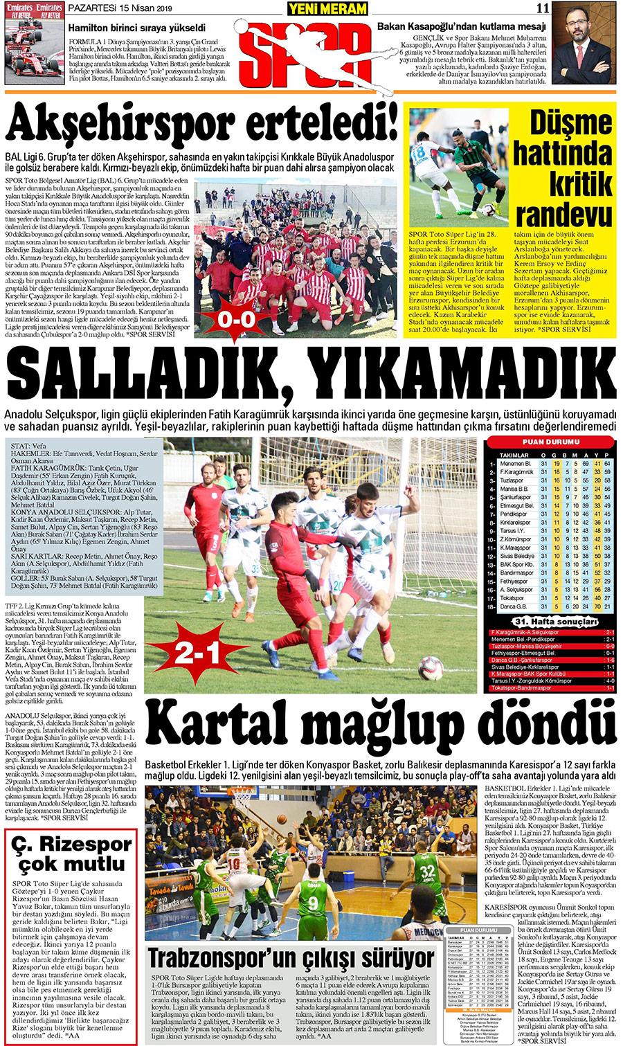 15 Nisan 2019 Yeni Meram Gazetesi