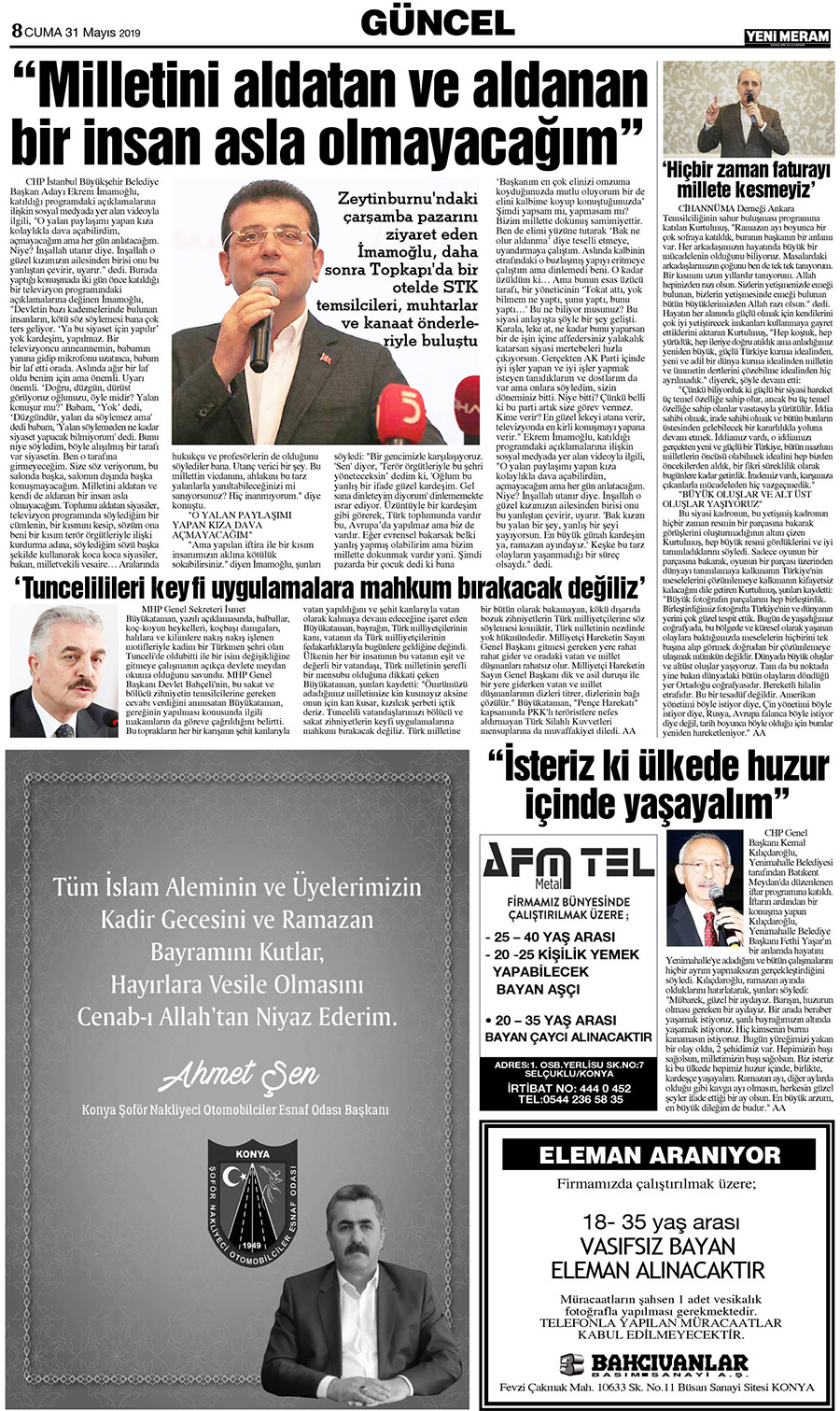 31 Mayıs 2019 Yeni Meram Gazetesi