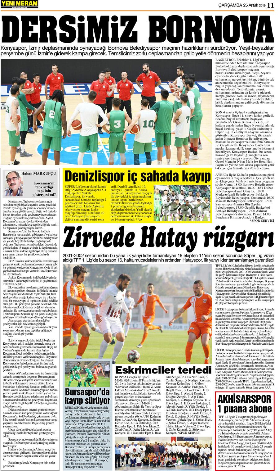 25 Aralık 2019 Yeni Meram Gazetesi