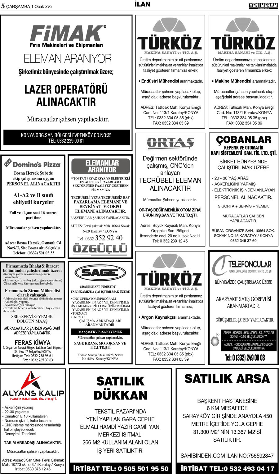 1 Ocak 2020 Yeni Meram Gazetesi