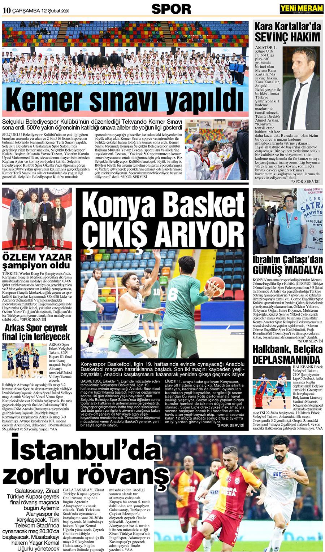 12 Şubat 2020 Yeni Meram Gazetesi