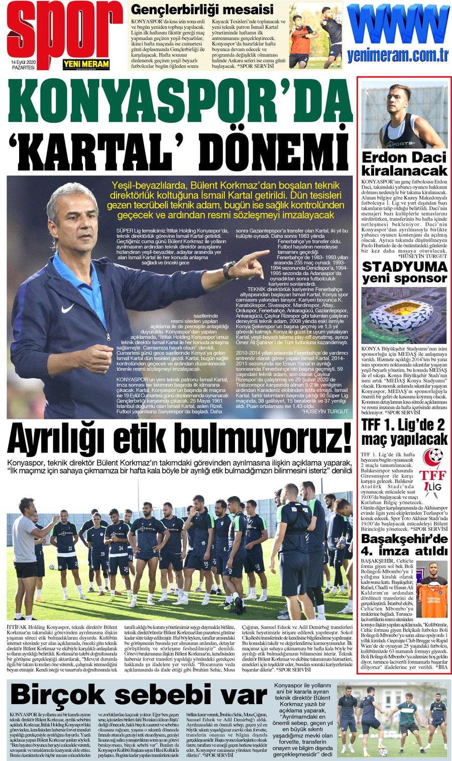 14 Eylül 2020 Yeni Meram Gazetesi