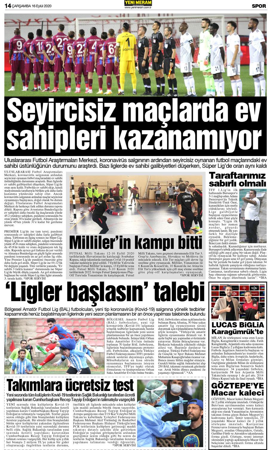 16 Eylül 2020 Yeni Meram Gazetesi