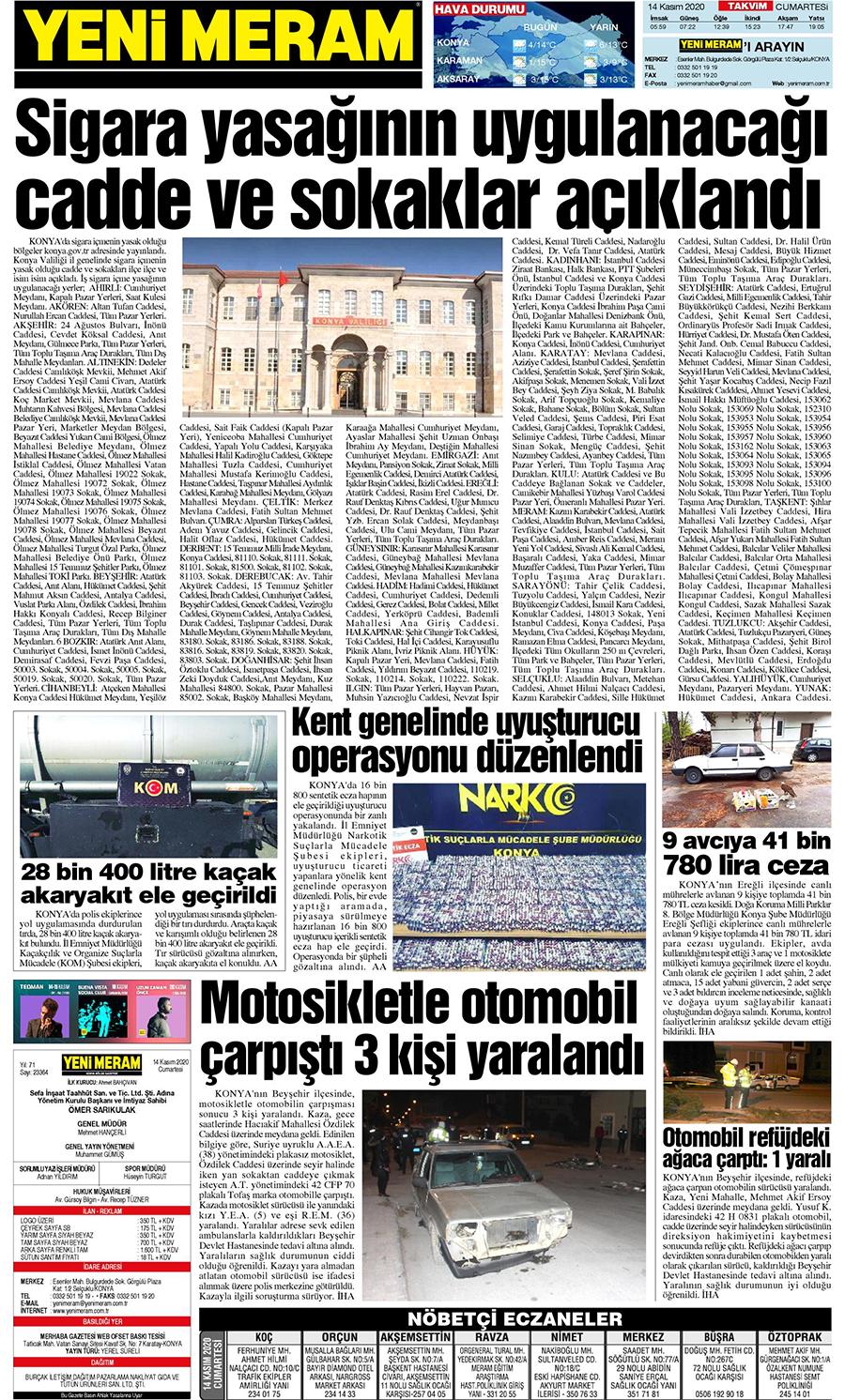 14 Kasım 2020 Yeni Meram Gazetesi