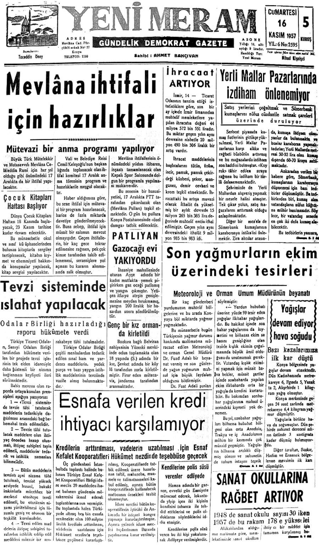 16 Kasım 2020 Yeni Meram Gazetesi
