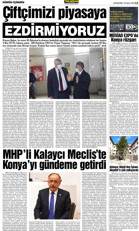 18 Kasım 2020 Yeni Meram Gazetesi