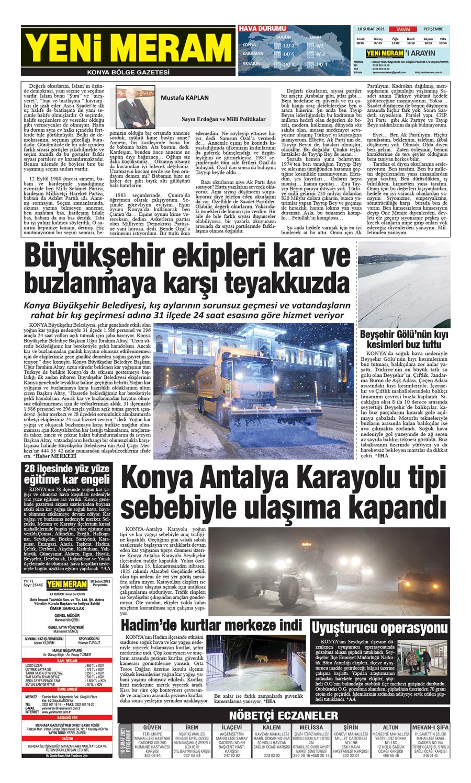 18 Şubat 2021 Yeni Meram Gazetesi