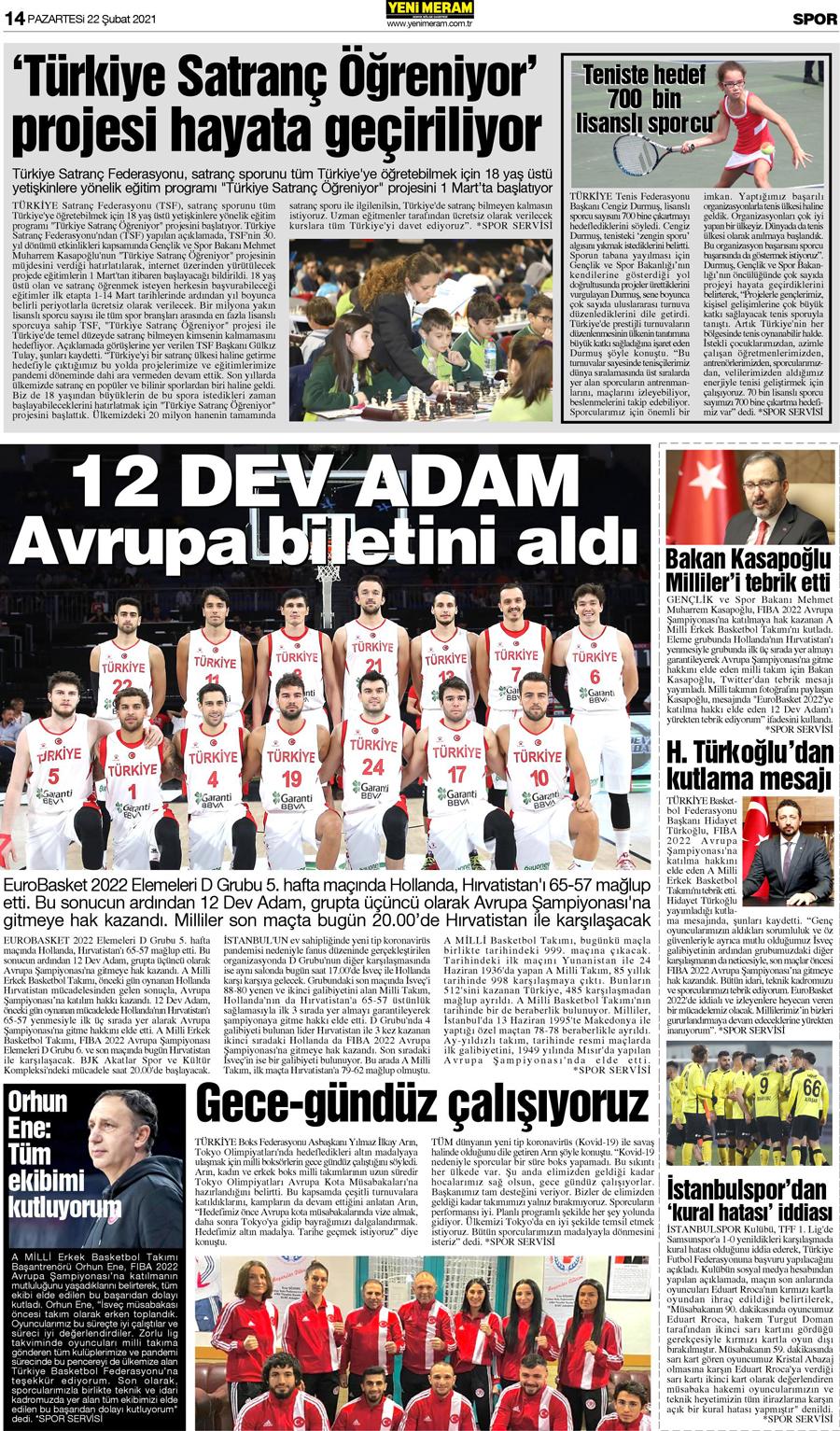 22 Şubat 2021 Yeni Meram Gazetesi
