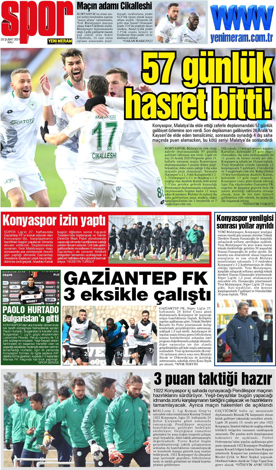 23 Şubat 2021 Yeni Meram Gazetesi