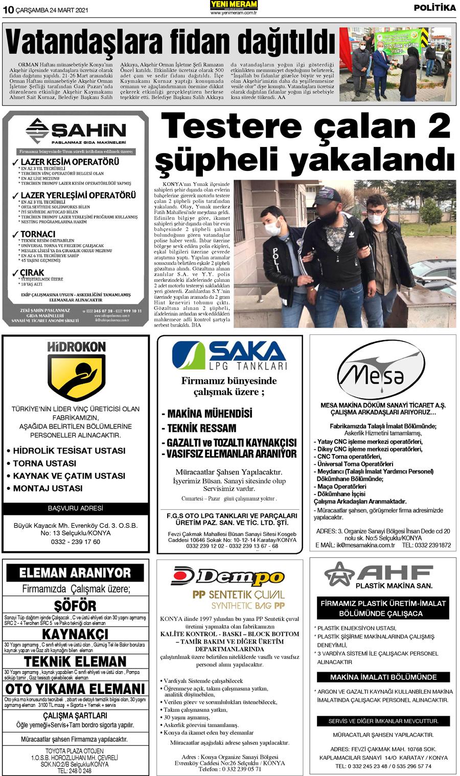 24 Mart 2021 Yeni Meram Gazetesi