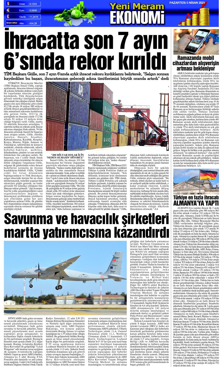 5 Nisan 2021 Yeni Meram Gazetesi