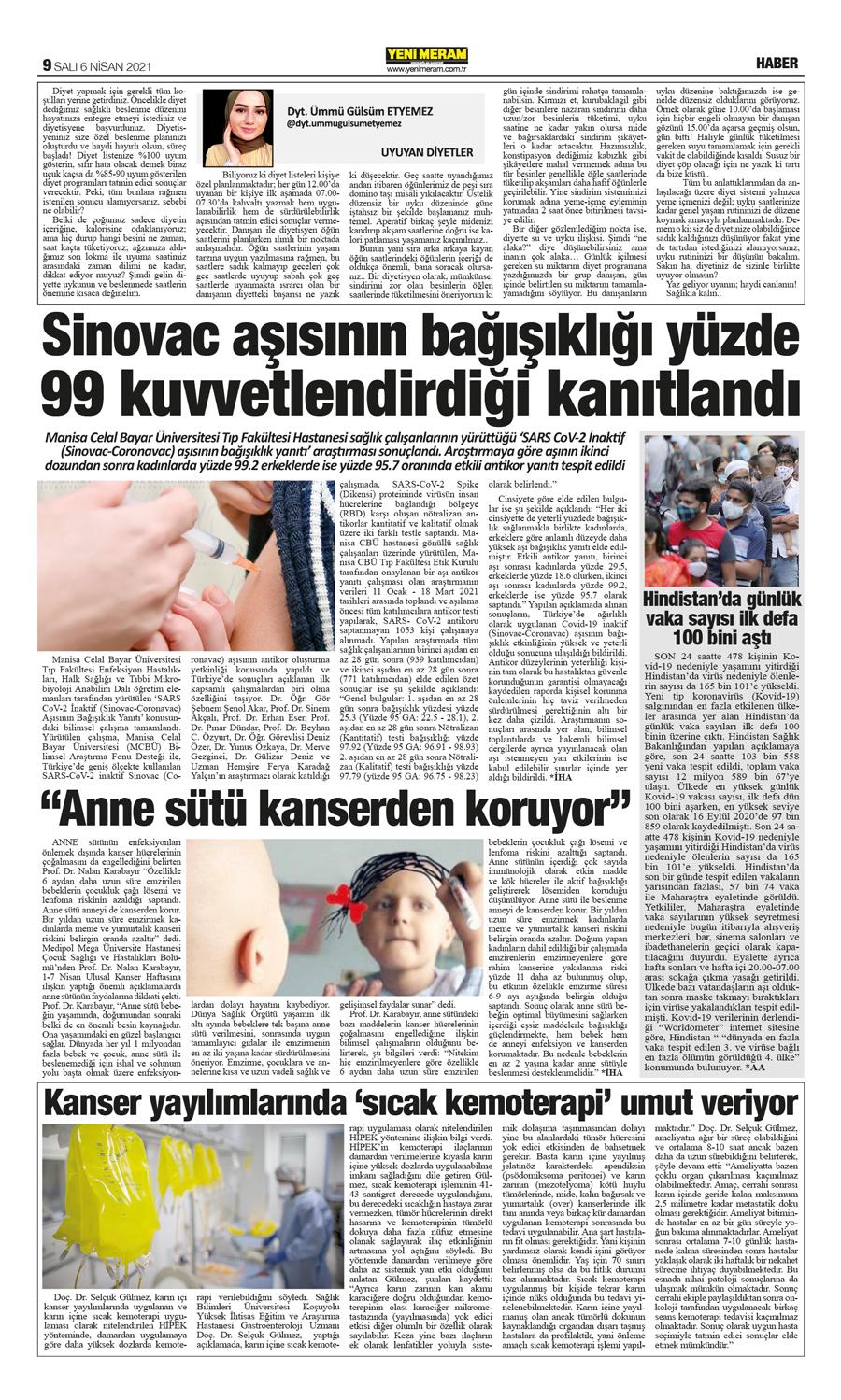 6 Nisan 2021 Yeni Meram Gazetesi