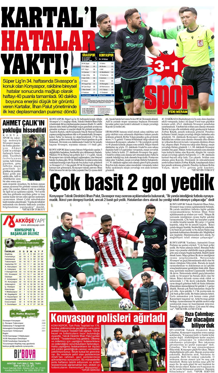 12 Nisan 2021 Yeni Meram Gazetesi