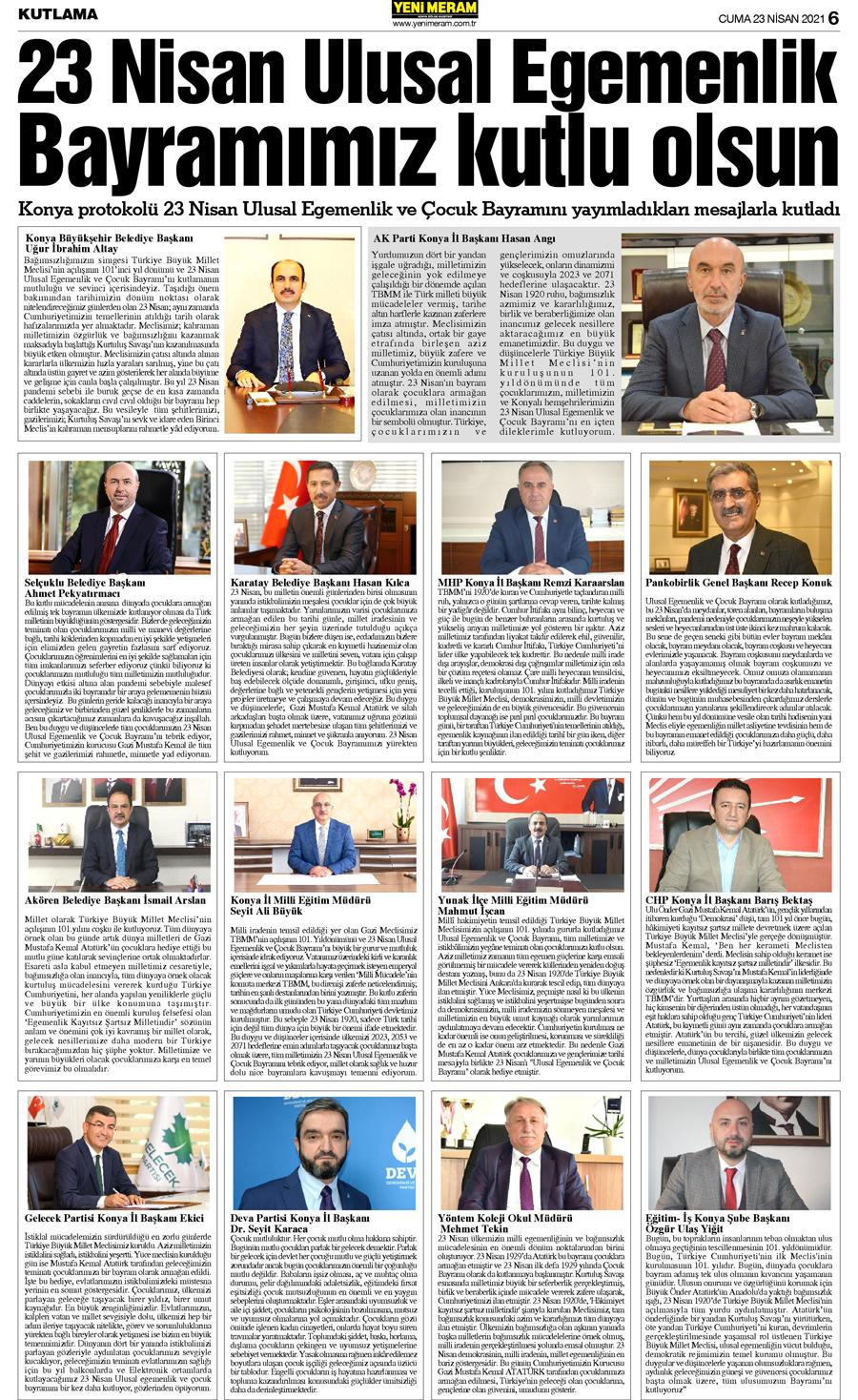 23 Nisan 2021 Yeni Meram Gazetesi