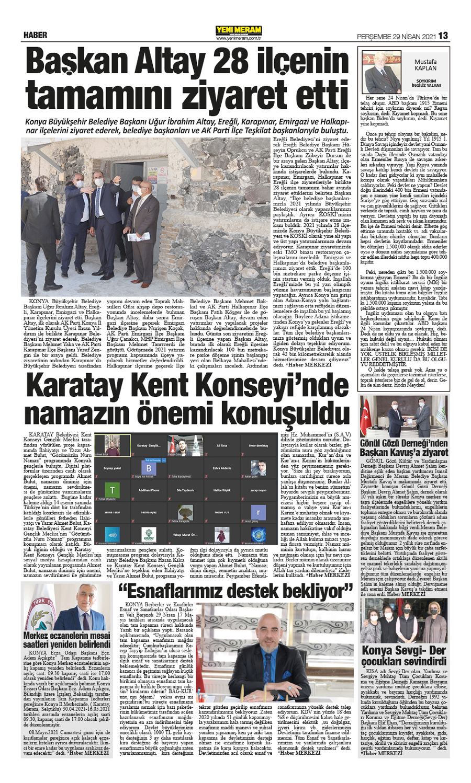 29 Nisan 2021 Yeni Meram Gazetesi