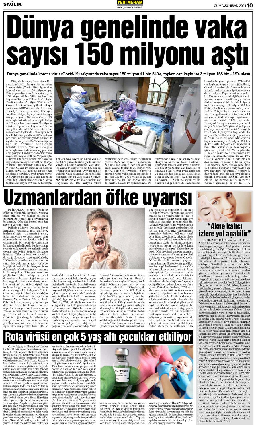 30 Nisan 2021 Yeni Meram Gazetesi