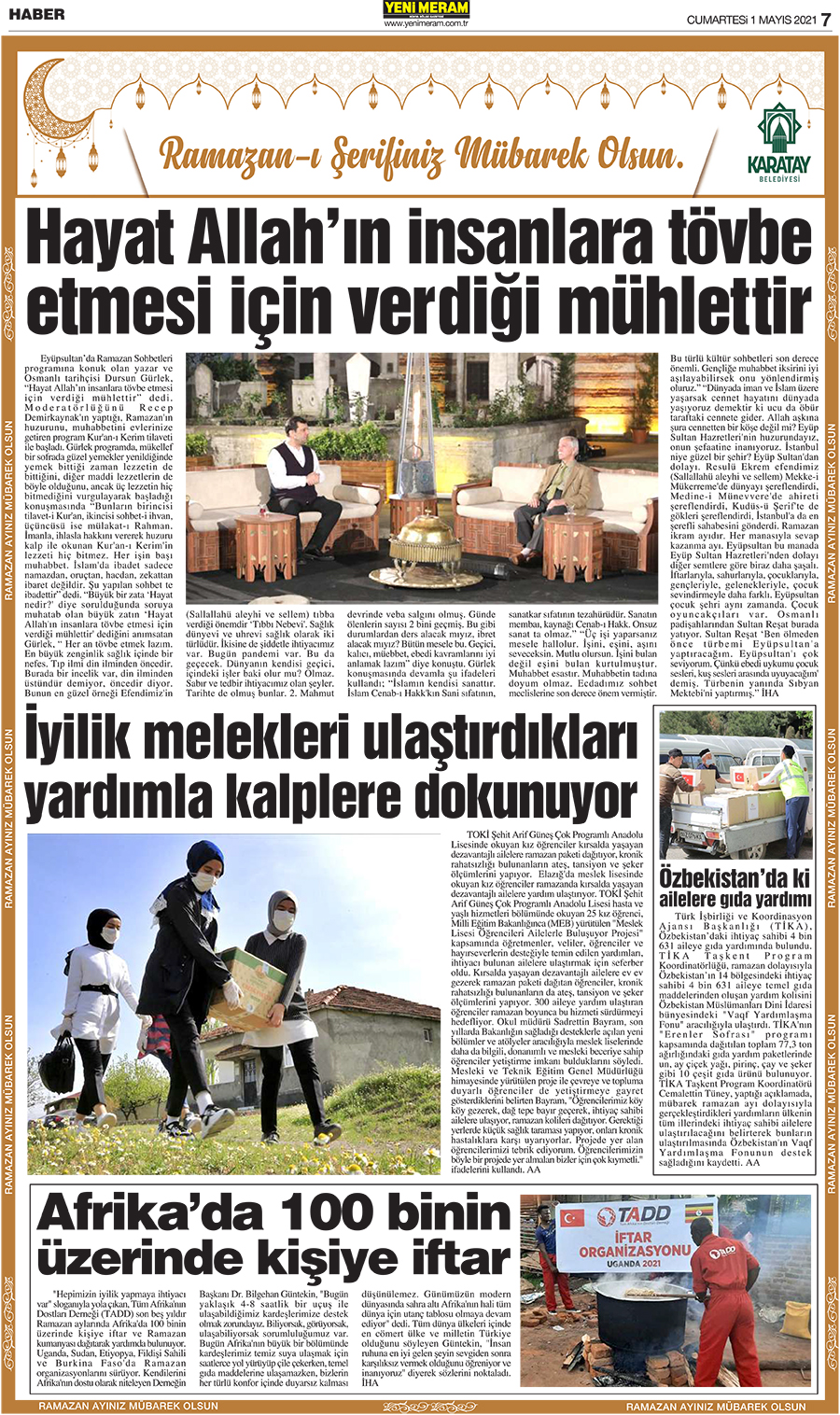 1 Mayıs 2021 Yeni Meram Gazetesi