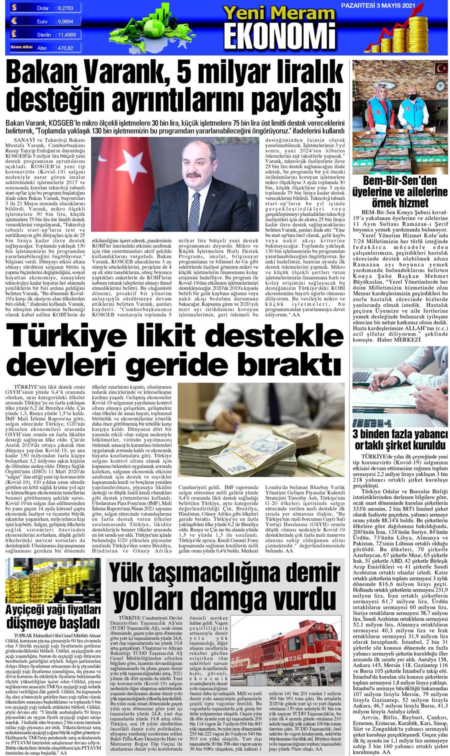 3 Mayıs 2021 Yeni Meram Gazetesi