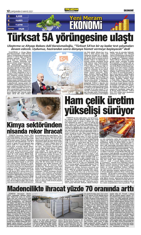 5 Mayıs 2021 Yeni Meram Gazetesi