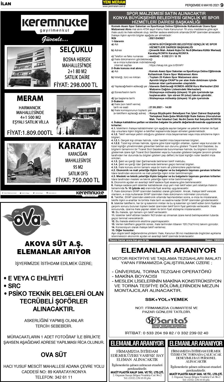 6 Mayıs 2021 Yeni Meram Gazetesi