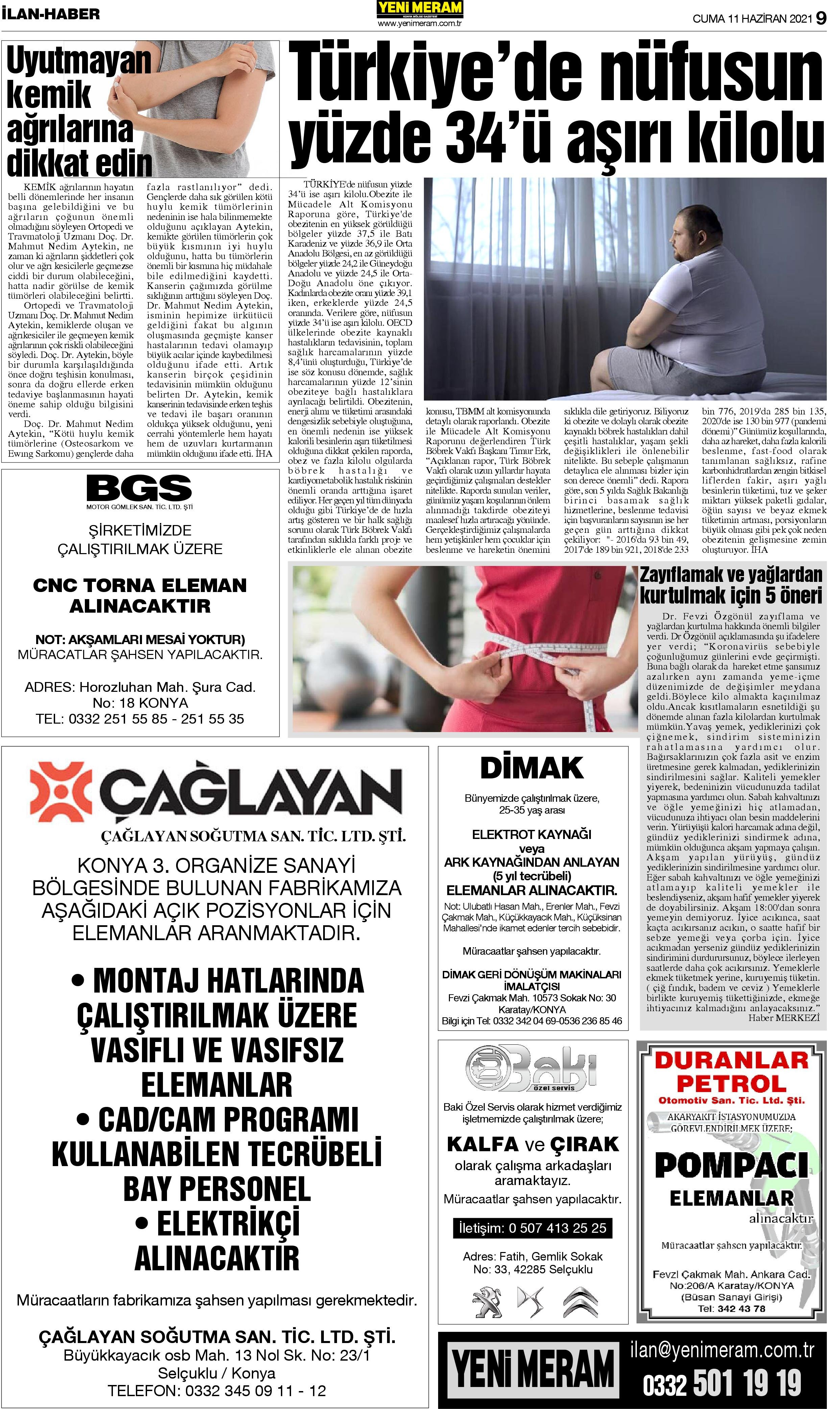 11 Haziran 2021 Yeni Meram Gazetesi