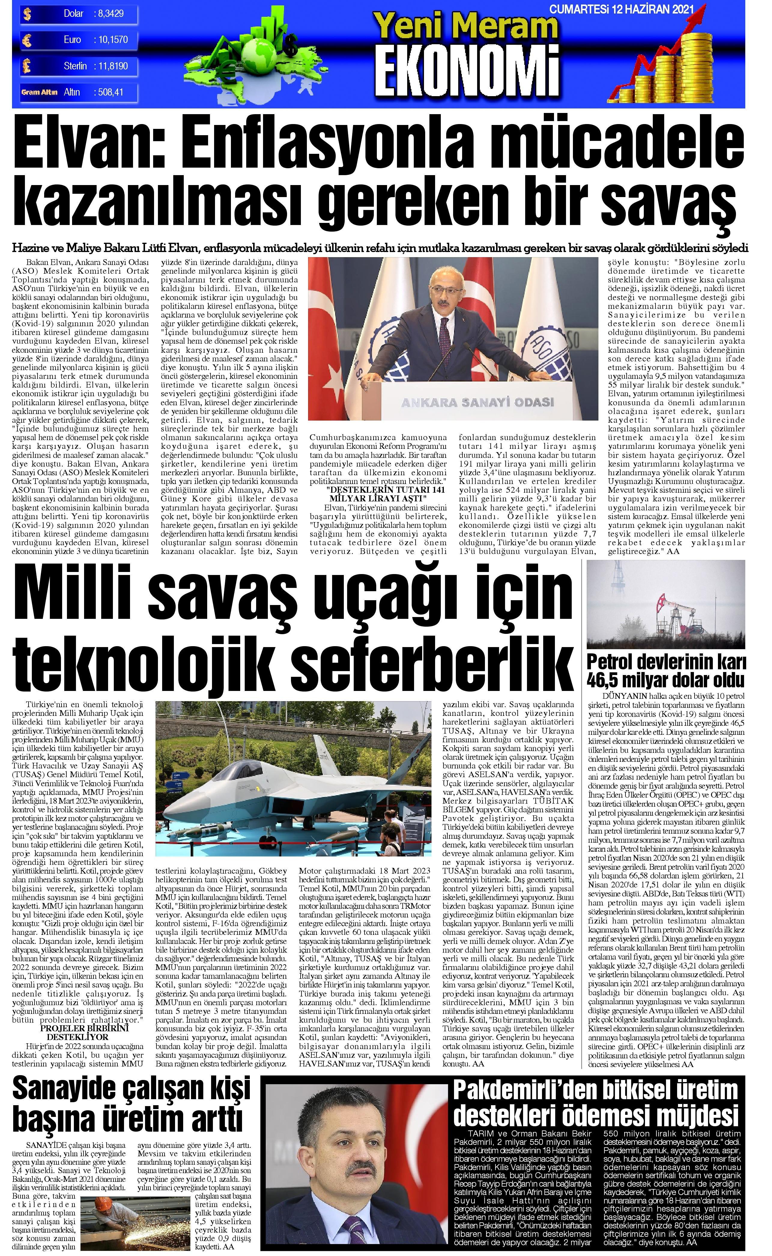12 Haziran 2021 Yeni Meram Gazetesi