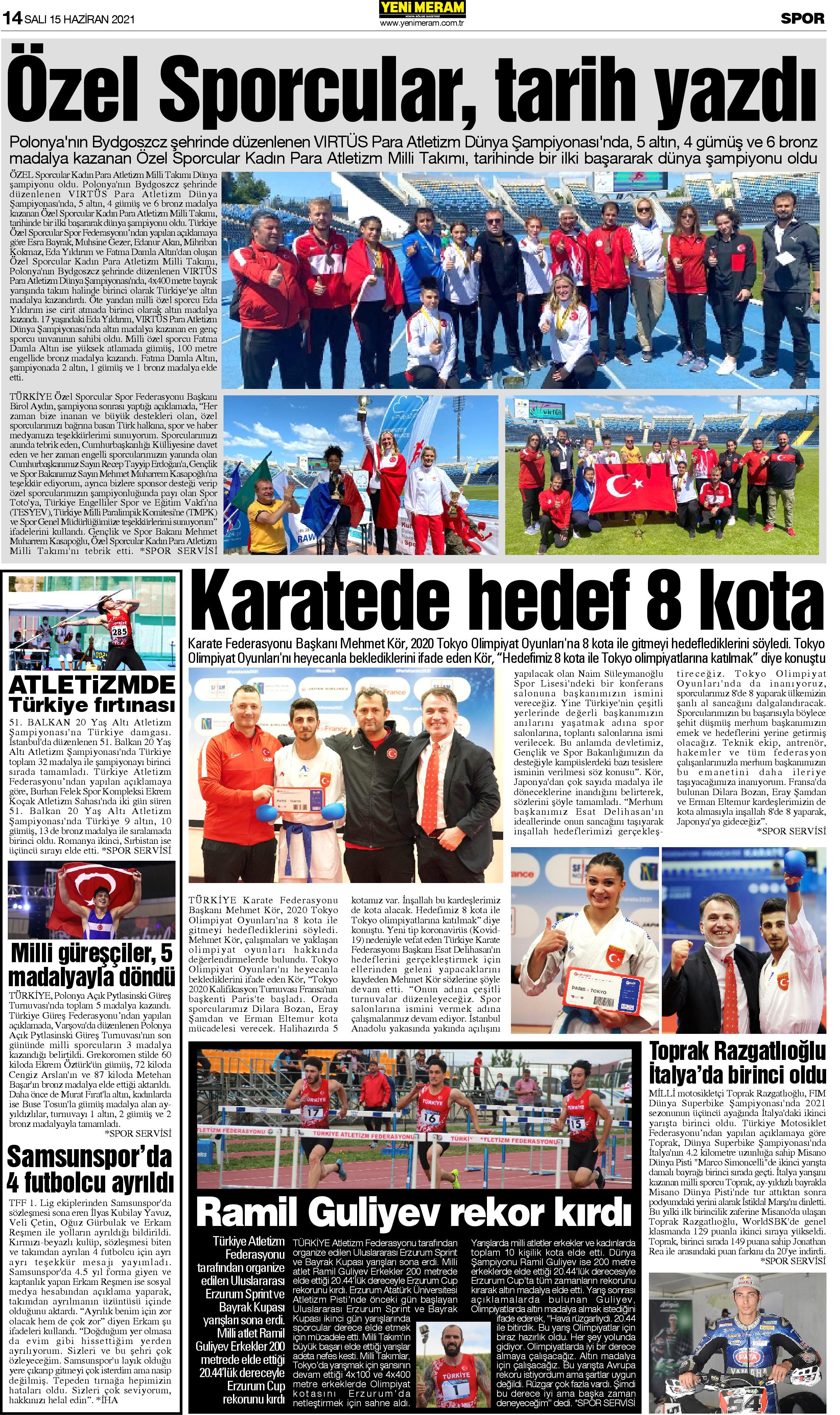 15 Haziran 2021 Yeni Meram Gazetesi