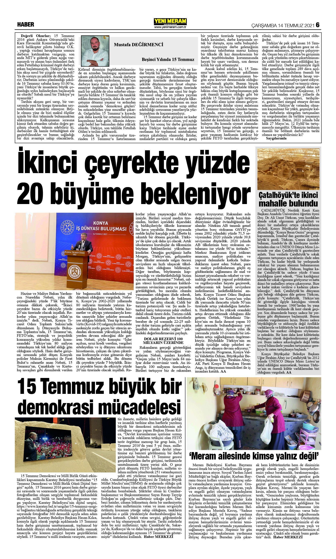 15 Temmuz 2021 Yeni Meram Gazetesi