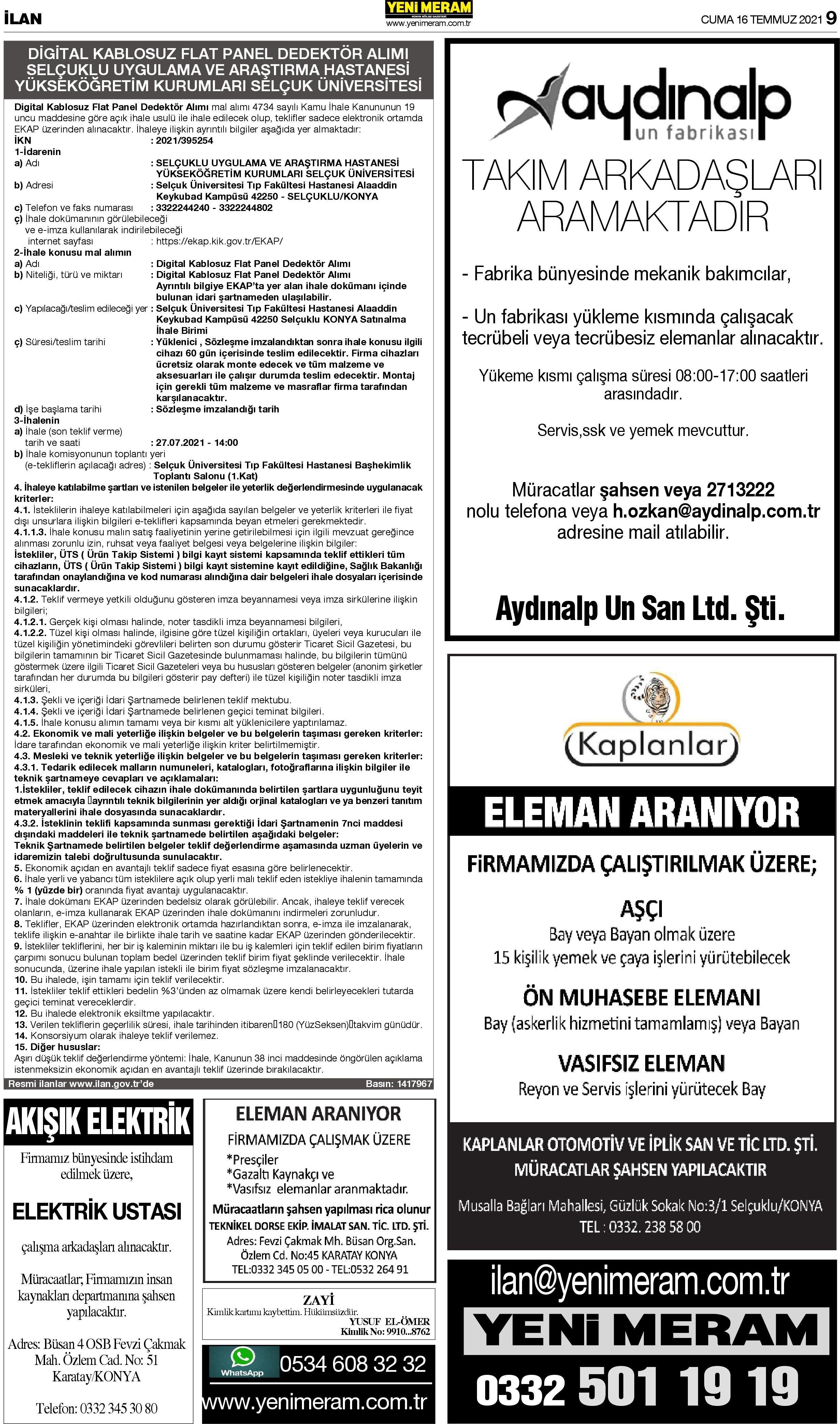 16 Temmuz 2021 Yeni Meram Gazetesi