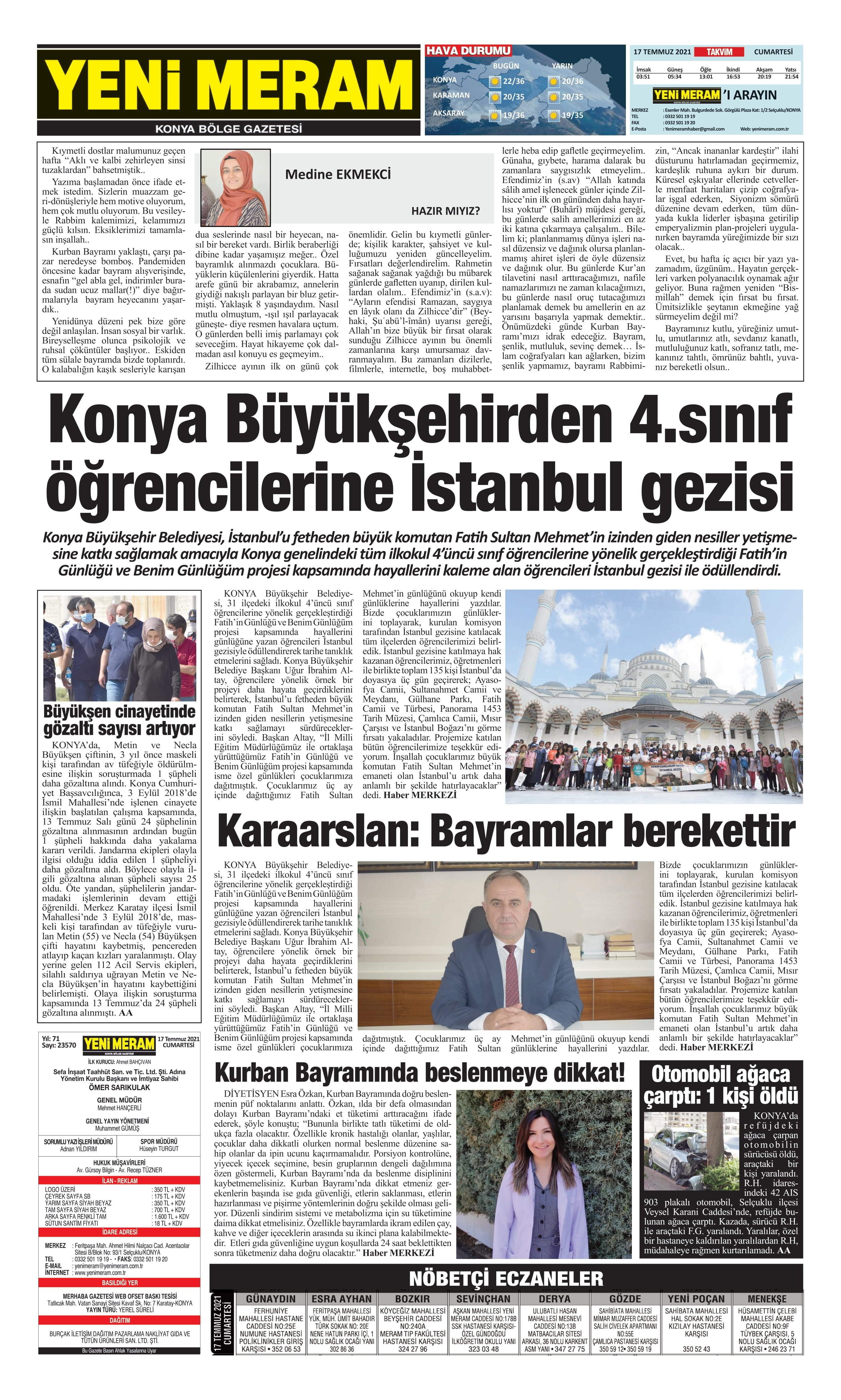 17 Temmuz 2021 Yeni Meram Gazetesi