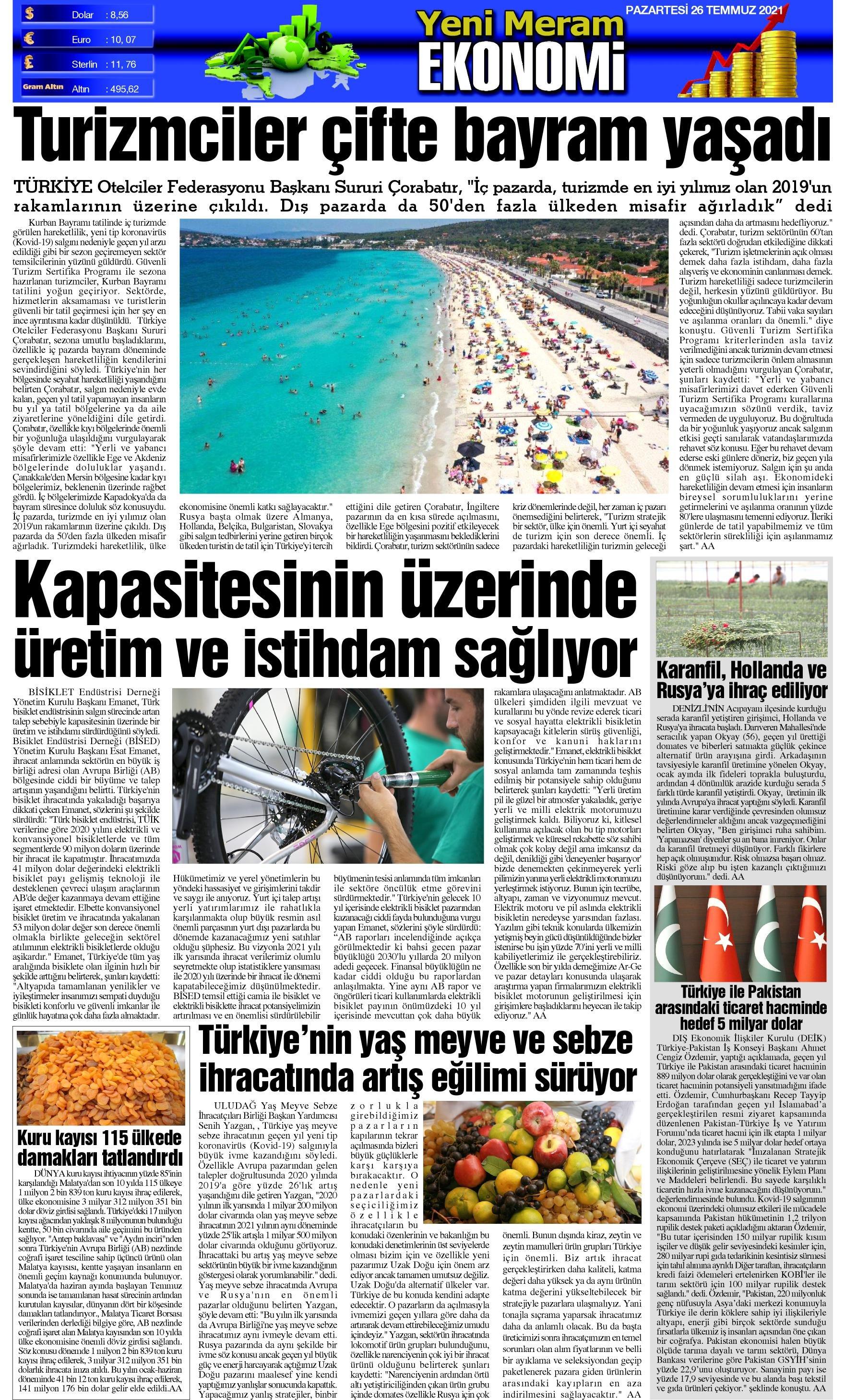 26 Temmuz 2021 Yeni Meram Gazetesi