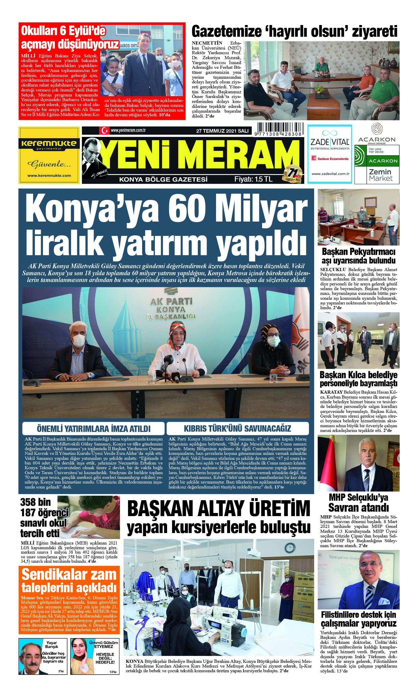 27 Temmuz 2021 Yeni Meram Gazetesi