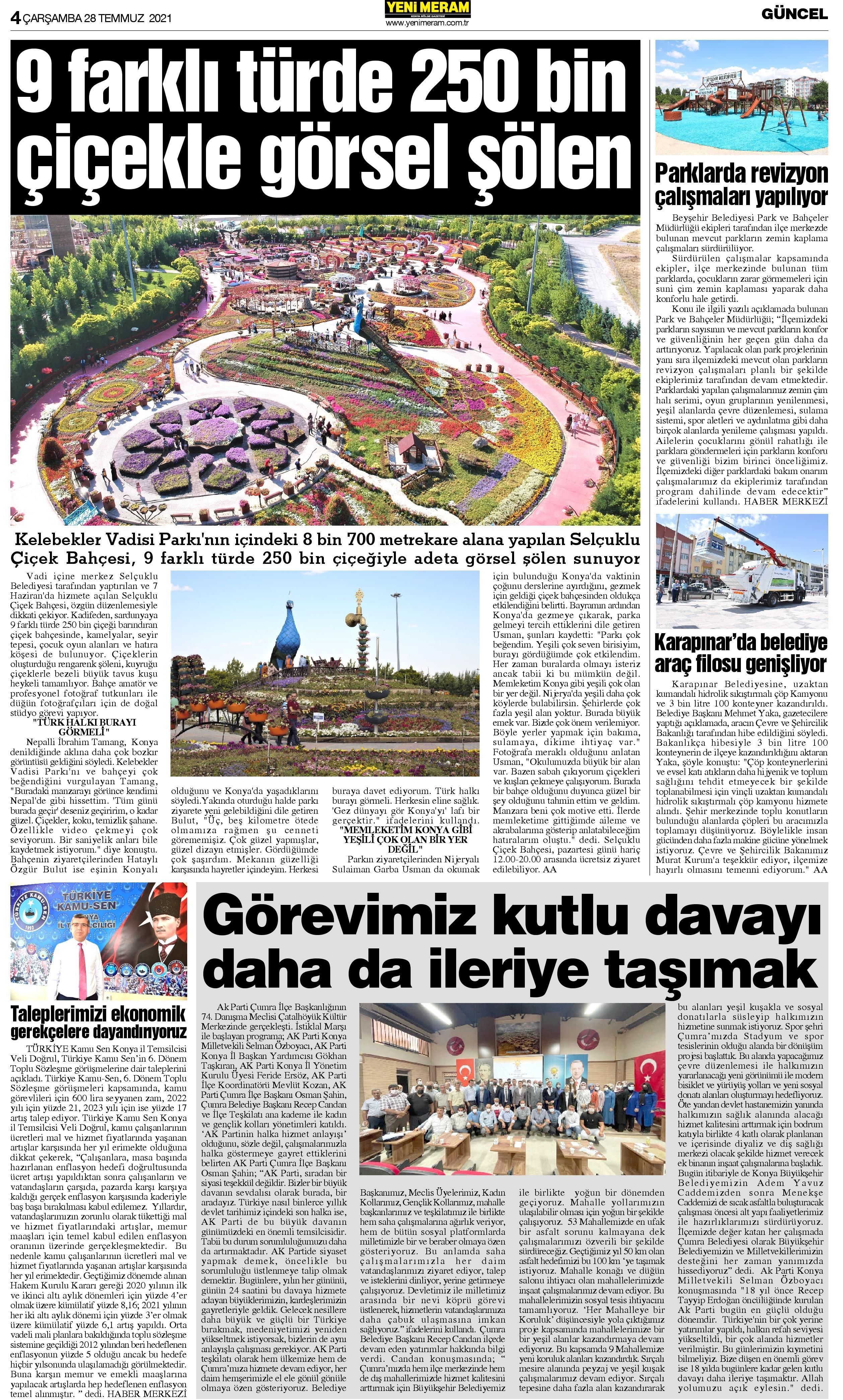 28 Temmuz 2021 Yeni Meram Gazetesi