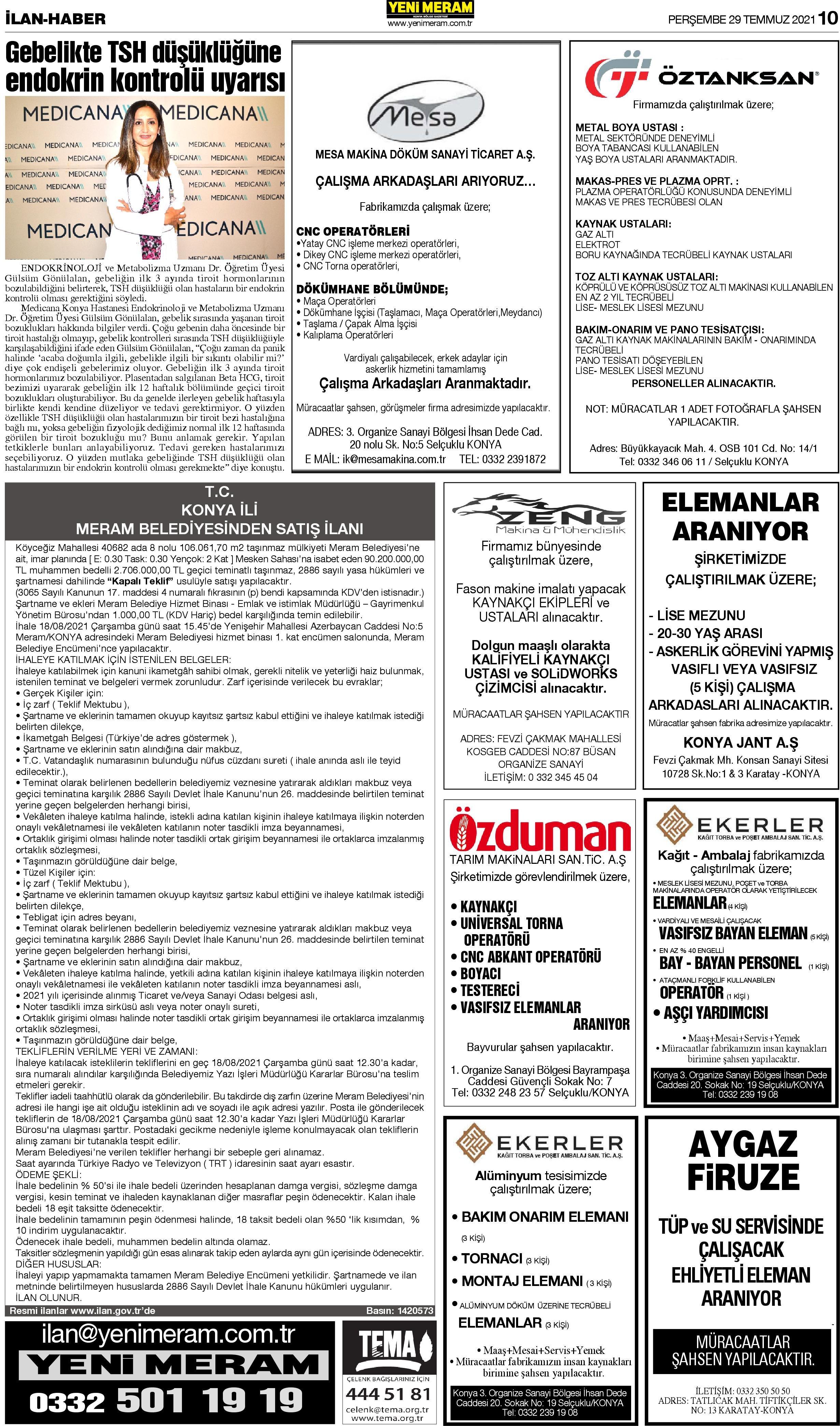 29 Temmuz 2021 Yeni Meram Gazetesi