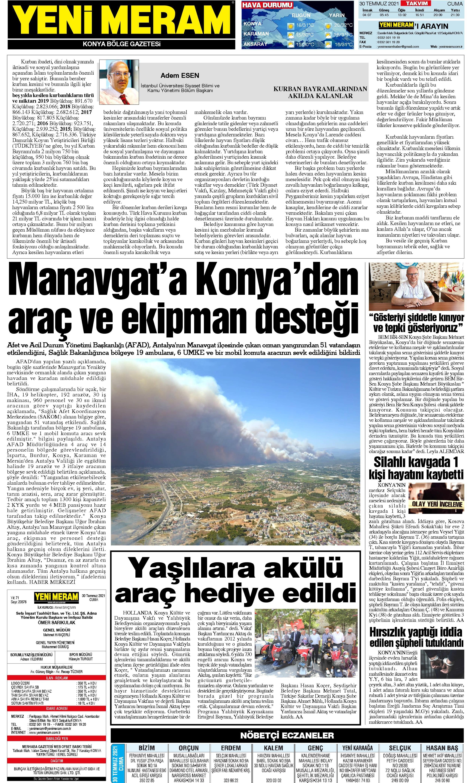 30 Temmuz 2021 Yeni Meram Gazetesi