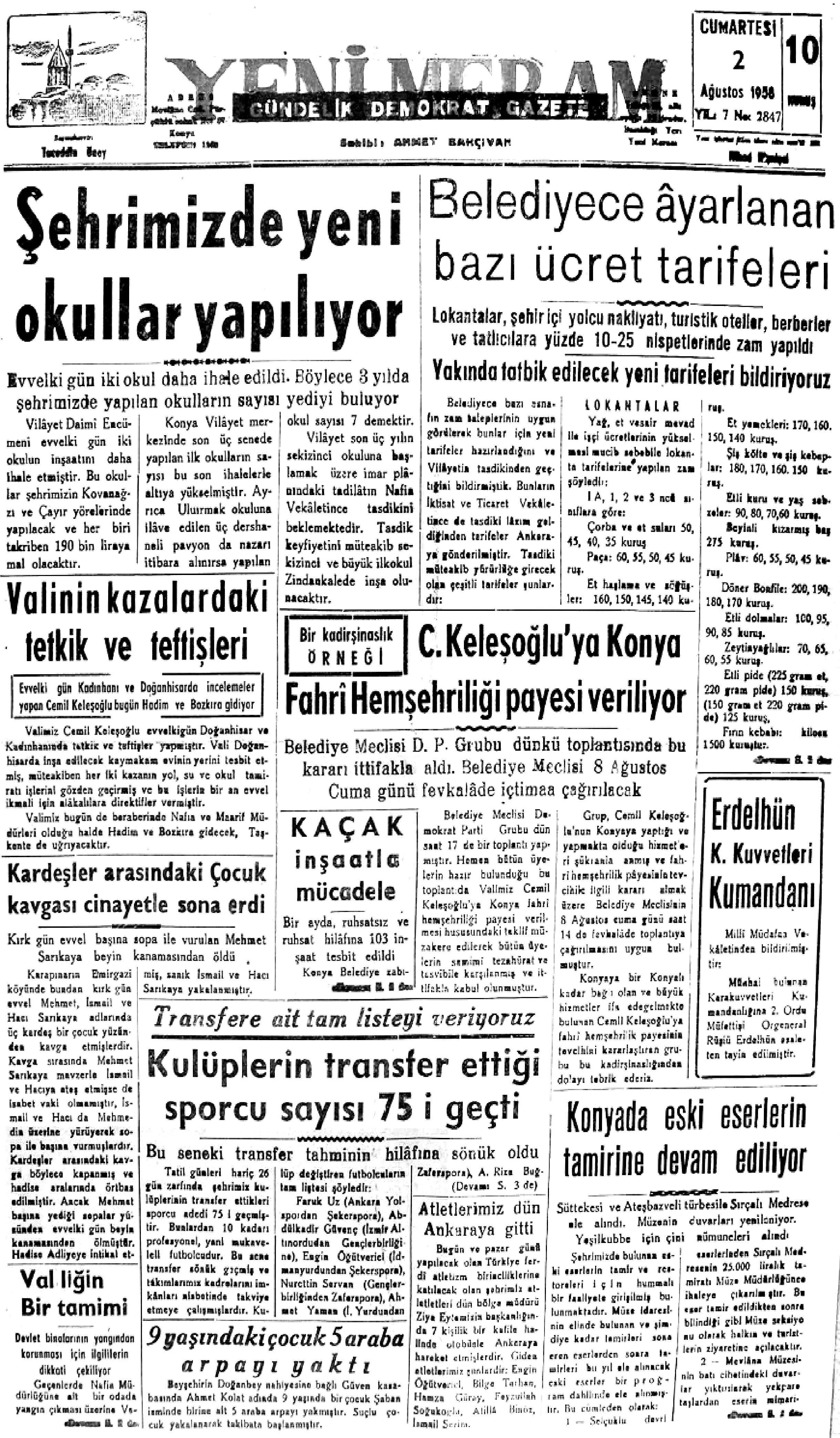 2 Ağustos 2021 Yeni Meram Gazetesi