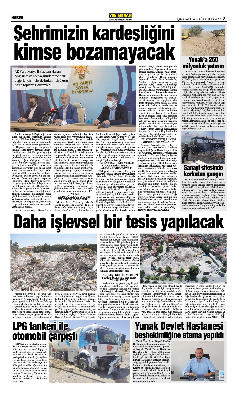 4 Ağustos 2021 Yeni Meram Gazetesi