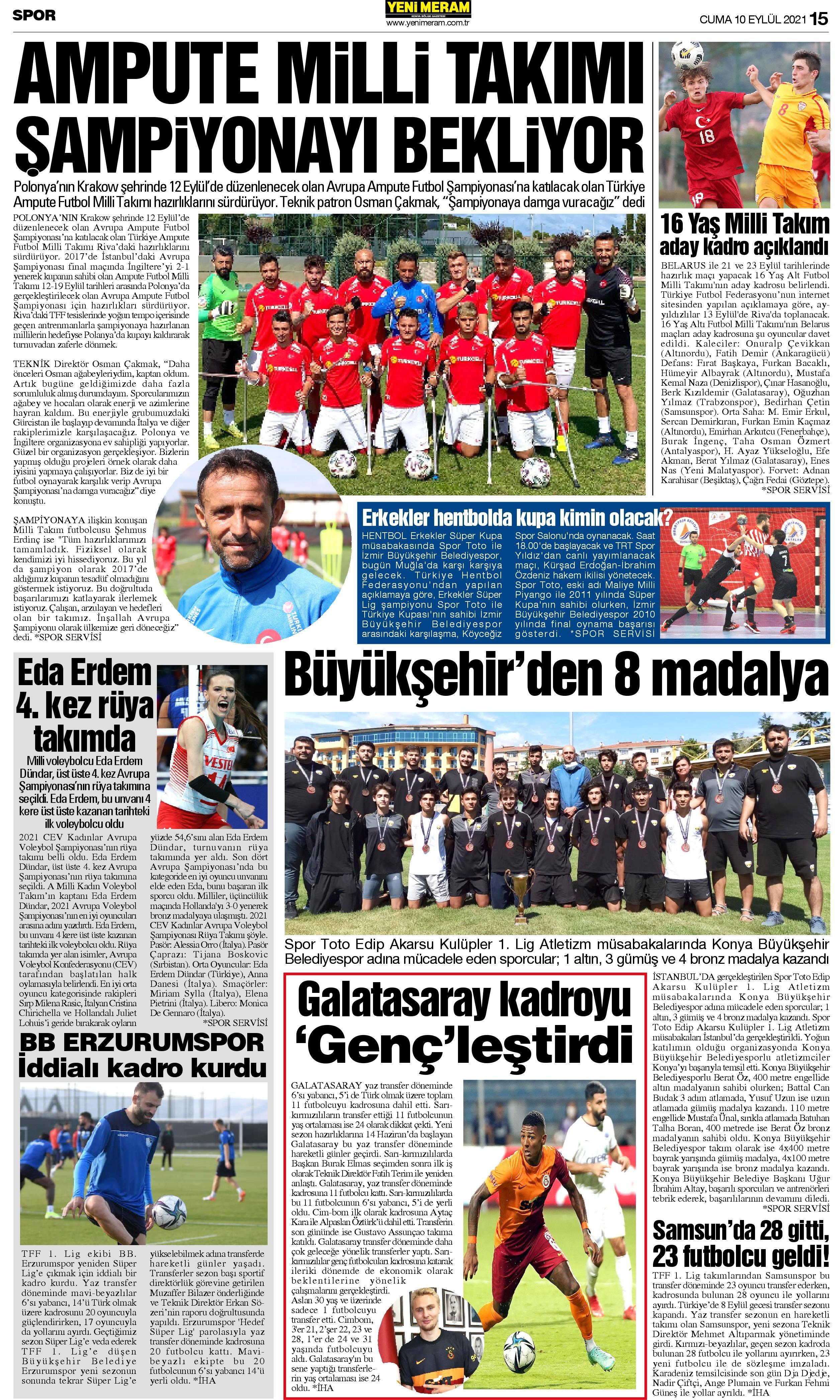 10 Eylül 2021 Yeni Meram Gazetesi