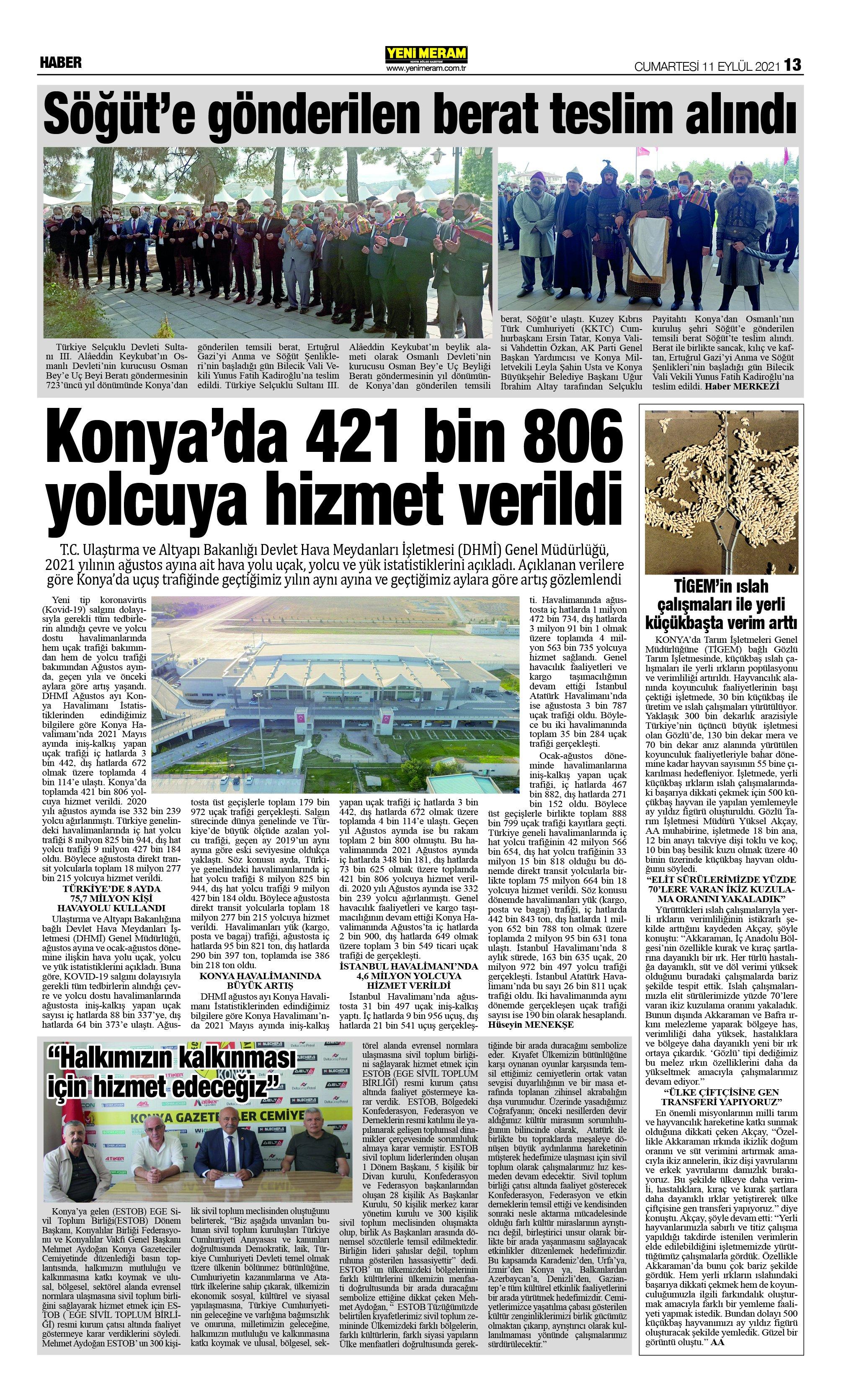11 Eylül 2021 Yeni Meram Gazetesi