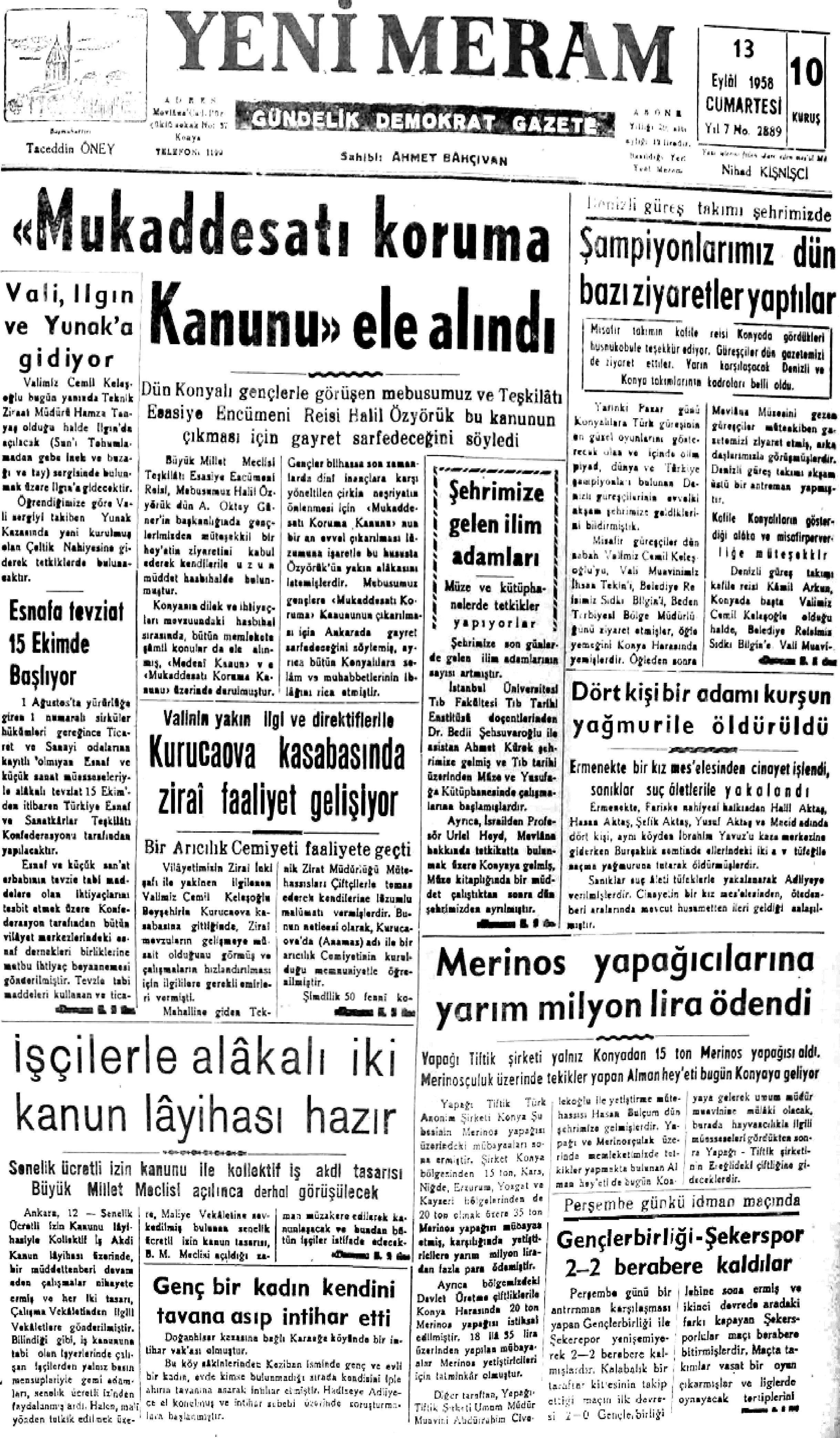 13 Eylül 2021 Yeni Meram Gazetesi
