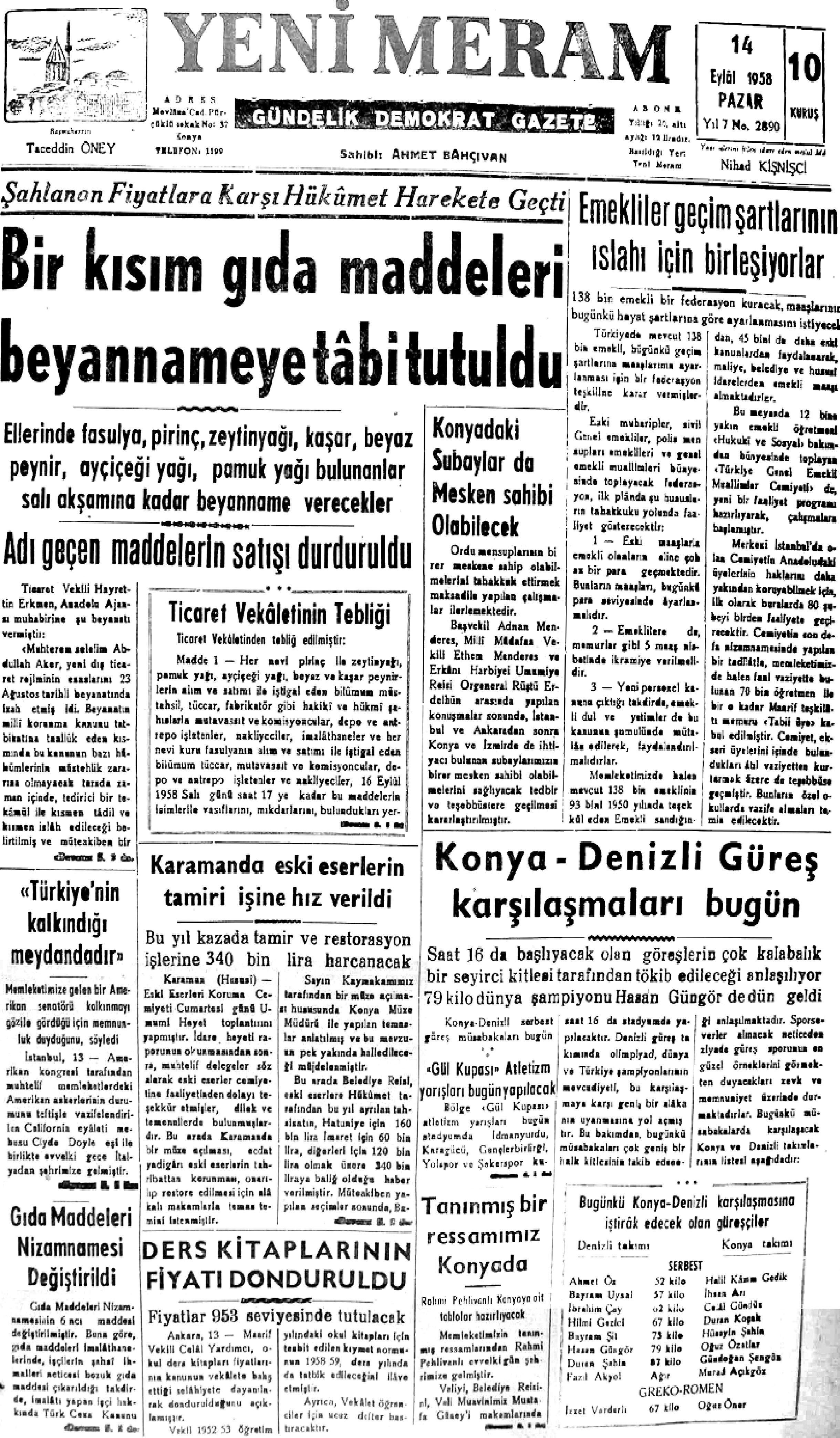 14 Eylül 2021 Yeni Meram Gazetesi