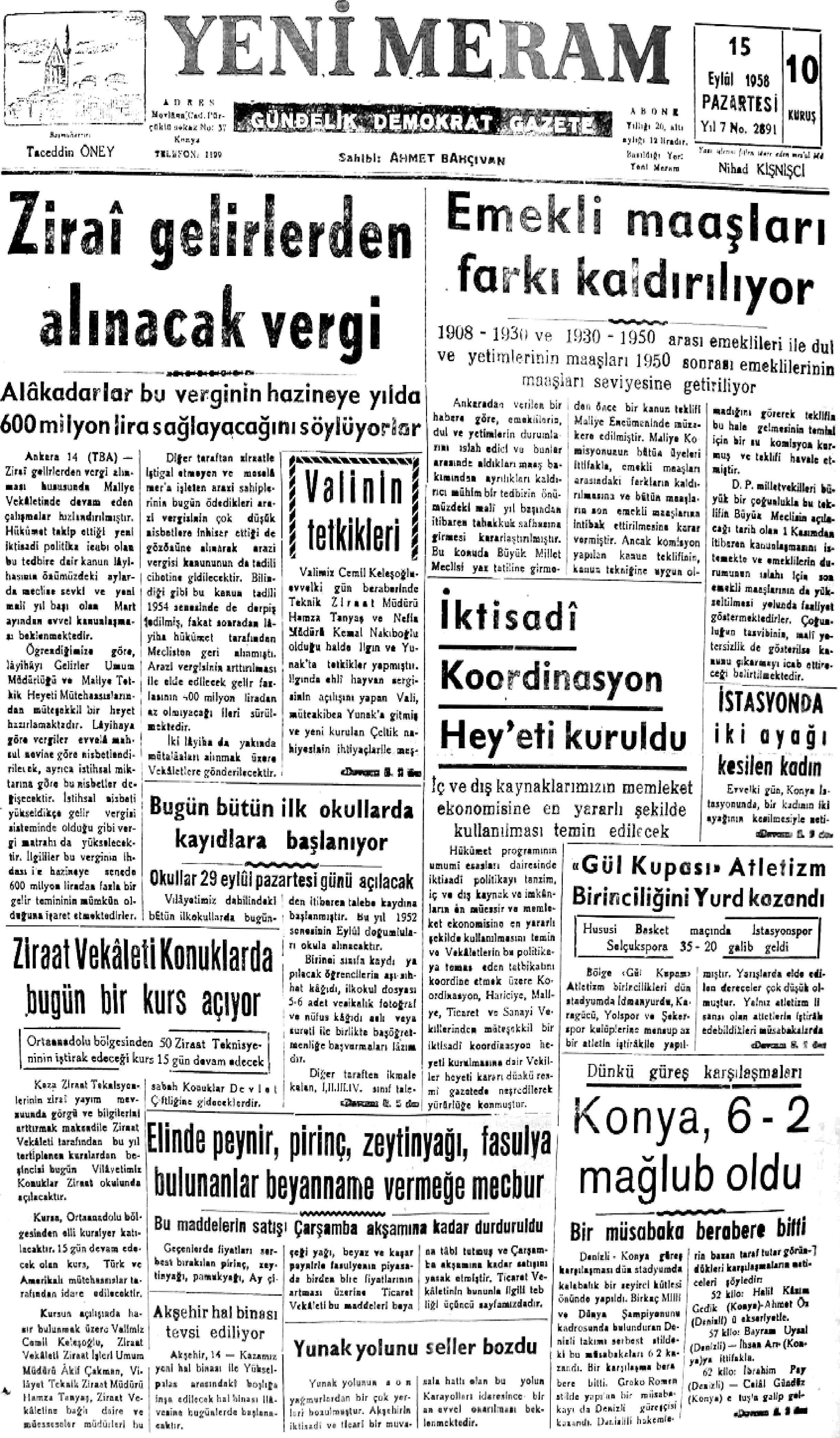 15 Eylül 2021 Yeni Meram Gazetesi