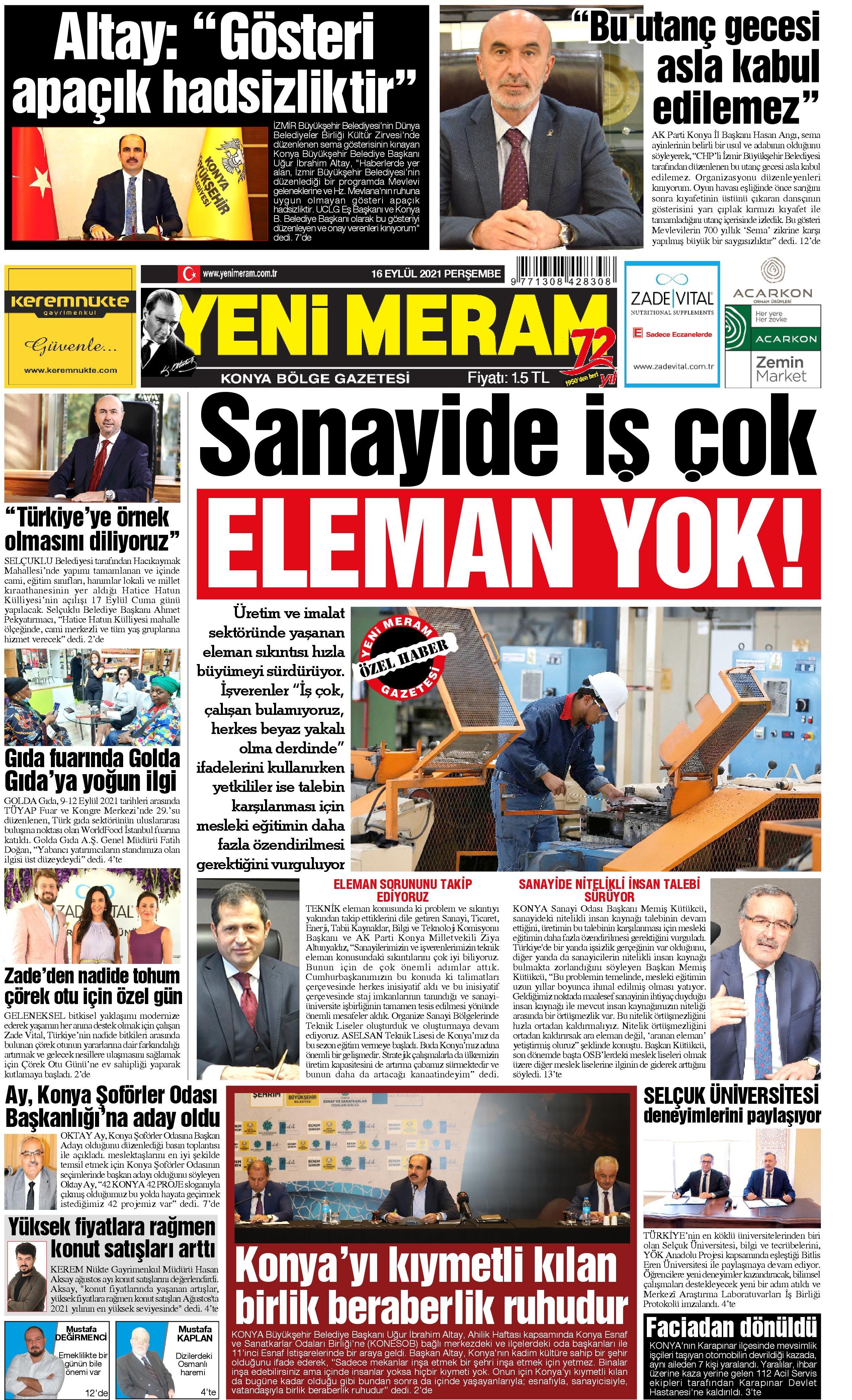 16 Eylül 2021 Yeni Meram Gazetesi