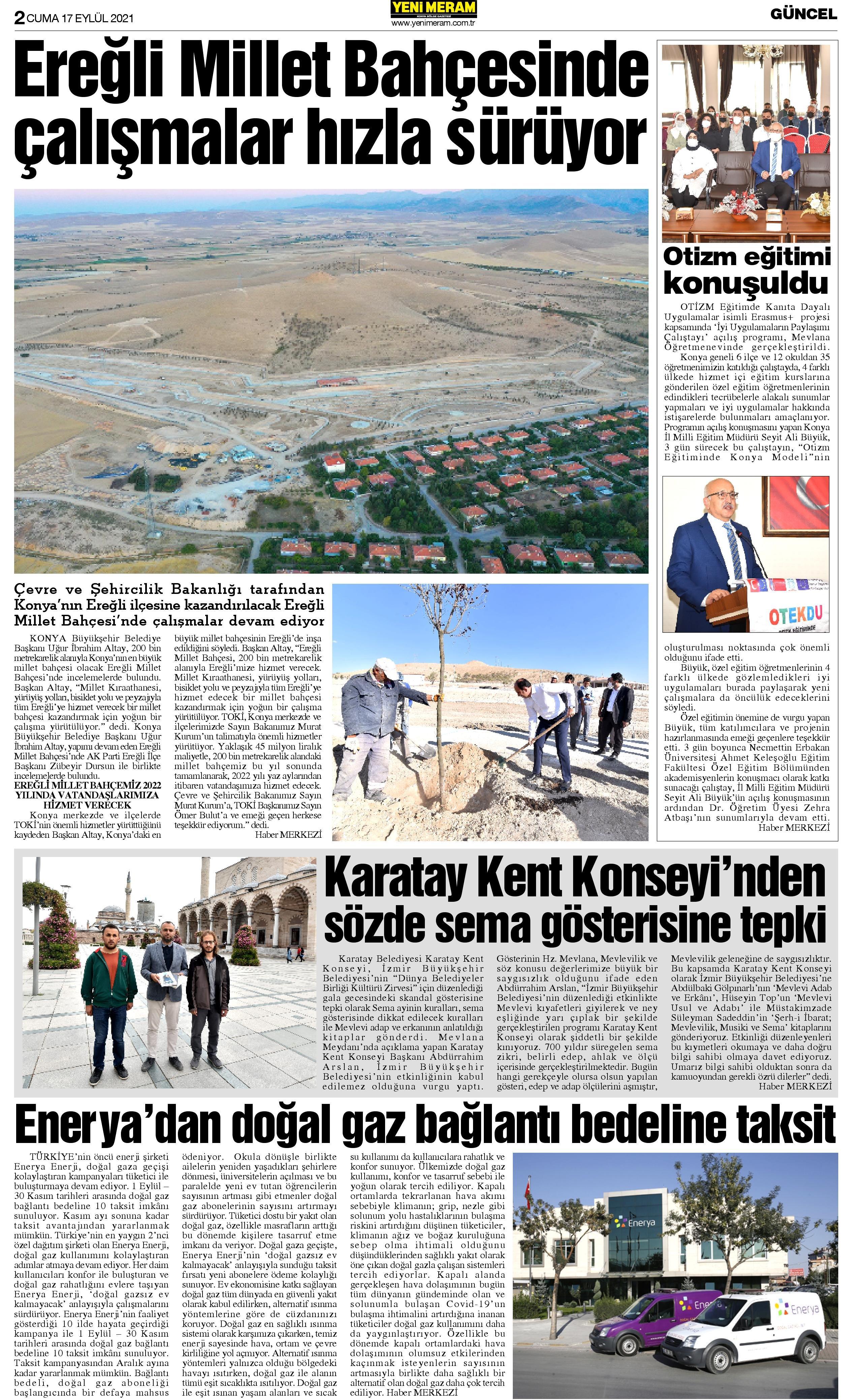 17 Eylül 2021 Yeni Meram Gazetesi
