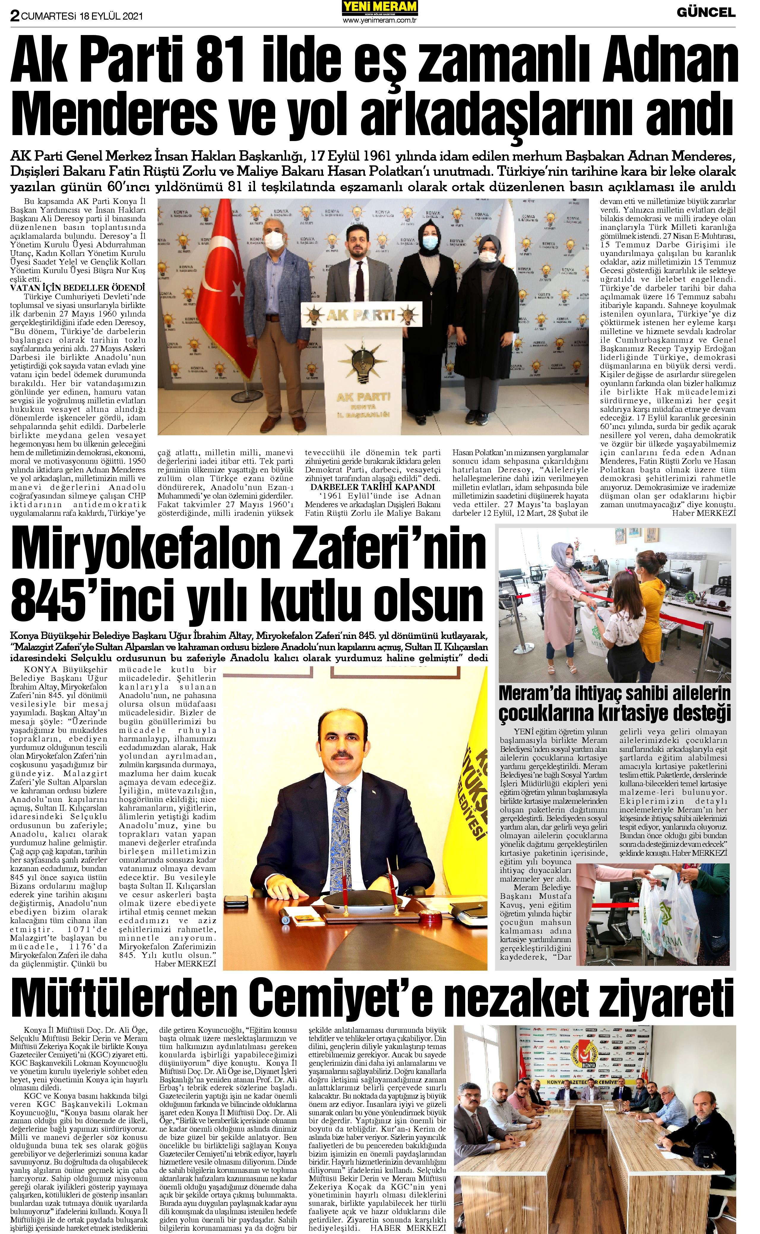18 Eylül 2021 Yeni Meram Gazetesi