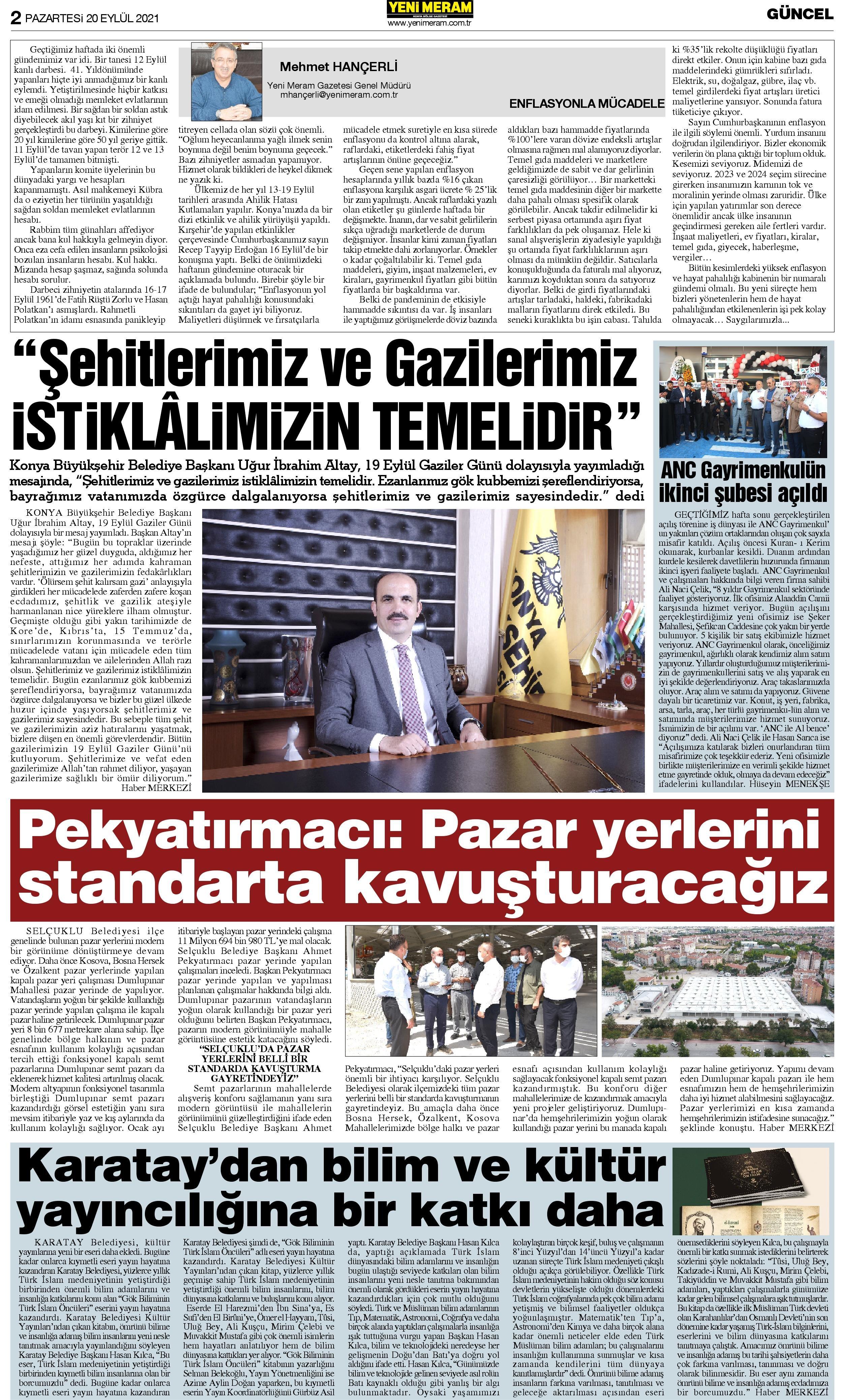 20 Eylül 2021 Yeni Meram Gazetesi